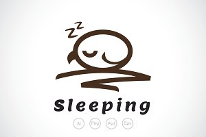 Sleeping Baby Owl Logo Template
