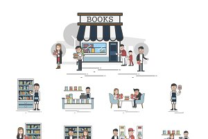 Illustration of library vector set
