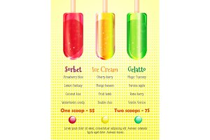 Ice cream, gelato and sorbet menu cover