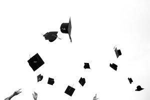 Mortar boards in the air