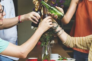 Diverse friends eating together