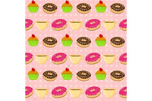 Vector seamless pattern with colorful donuts, muffins and tescup