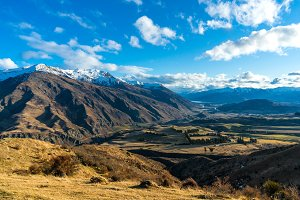 Epic mountain valley landscape. Aerial view