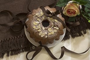 almond chocolate cake on brown woven