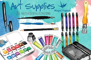 Art supplies illustrations