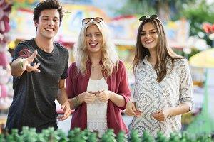 Friends at the amusement park