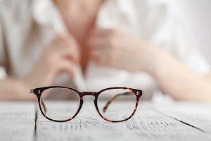 Vintage style brown eyeglasses