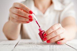 closeup of red nails polish