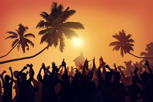 Silhouette of a summer festival