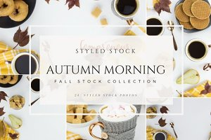 Autumn breakfast styled stock photo
