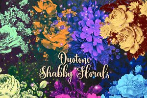 Duotone Shabby Floral Clipart
