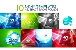 Collection of vector shiny light templates, glowing colors abstract backgrounds designs