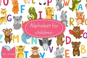Alphabet with animals for children