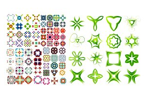Set of ornamental geometric flowers