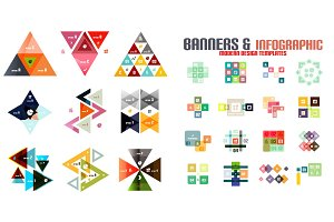 Triangle geometric infographic templates set
