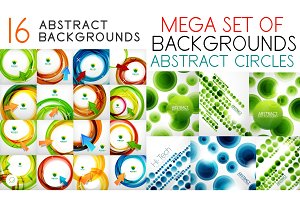 Mega set of swirl circles abstract vector backgrounds