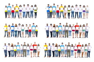 Diverse people on white background