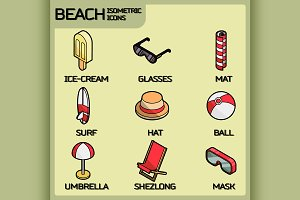 Beach color outline isometric icons