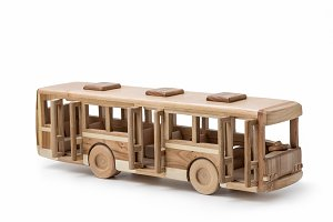 Wooden toy bus.