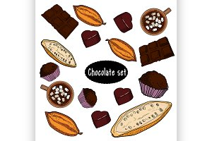 Color chocolate Vector set