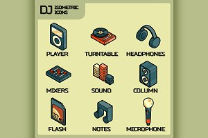 DJ color outline isometric icons