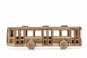 Wooden bus,  toy for boys.