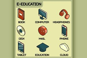 E-education isometric icons set