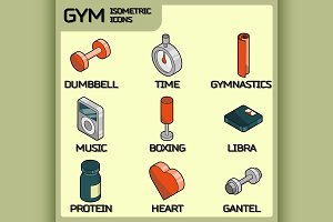 Gym color outline isometric icons