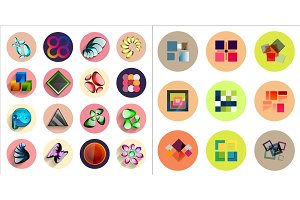 Round icons with geometric infographic templates