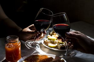 exquisite snack with red caviar and gourmet wine
