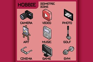Hobbie color icons set