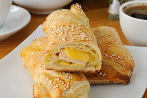 cake with ham and cheese