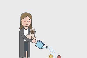 Illustration of woman watering plant