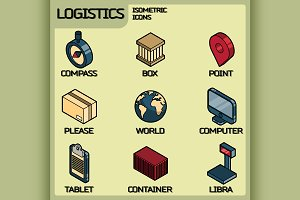 Logistics color isometric icons