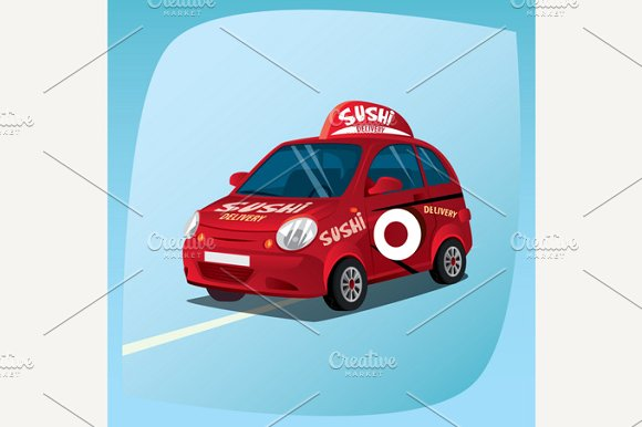 Isolated sushi delivery car