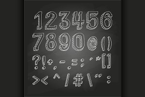 Numbers and symbols on chalkboard