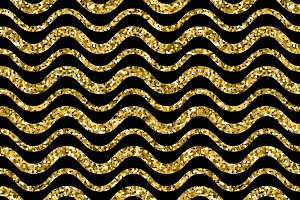 Gold sparkles glitter waves pattern