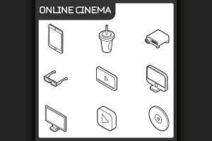 Online cinema isometric icons