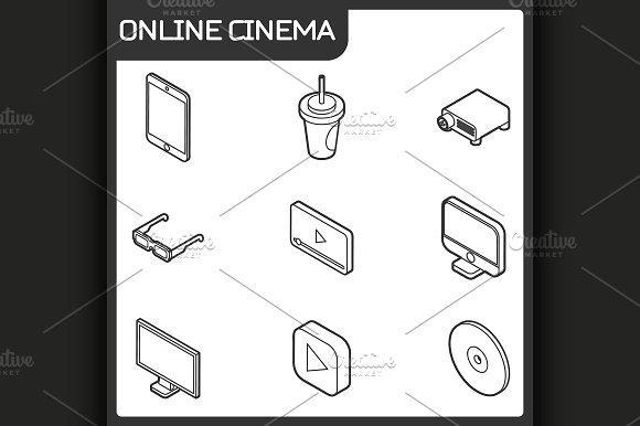 Online cinema isometric icons