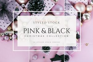 Pink & Black Christmas Stock Photo