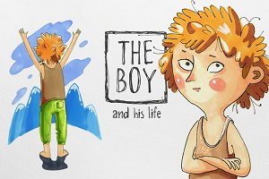 Marker Illustration about the boy