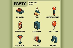 Party color isometric icons set