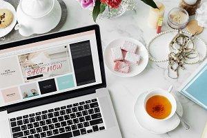 Online Shopping Laptop Tea Desk