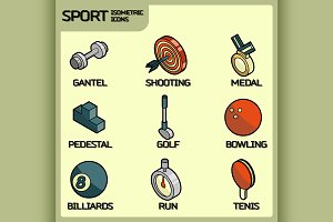 Sport color outline isometric icons