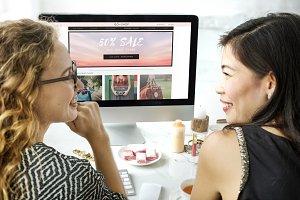 Women Shopping Online Shopaholics