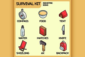 Survival kit isometric icons