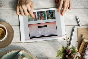 Online shopping on tablet