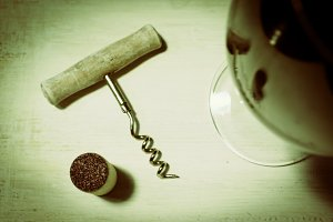 Corkscrew and cork