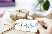 Gift box with thank you card