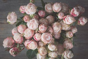 Wedding pink roses bouquet retro style